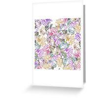 Vintage colorful pink purple orange floral pattern Greeting Card