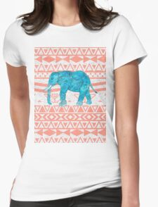 Whimsical Teal Paisley Elephant Pink Aztec Pattern T-Shirt