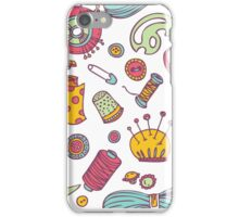 Sewing and needlework doodle pattern iPhone Case/Skin