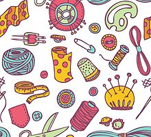 Sewing and needlework doodle pattern by epine
