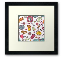 Sewing and needlework doodle pattern Framed Print