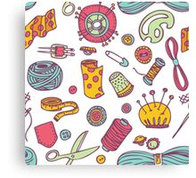 Sewing and needlework doodle pattern Canvas Print