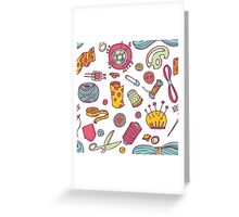 Sewing and needlework doodle pattern Greeting Card