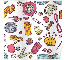 Sewing and needlework doodle pattern Poster