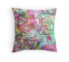 Abstract Girly Neon Rainbow Paisley Sketch Pattern Throw Pillow