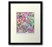 Abstract Girly Neon Rainbow Paisley Sketch Pattern Framed Print