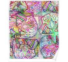 Abstract Girly Neon Rainbow Paisley Sketch Pattern Poster