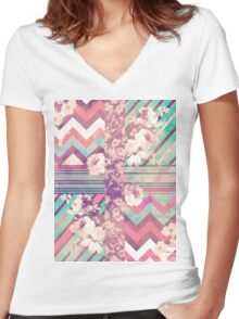 Retro Pink turquoise Floral Stripe Chevron Pattern Women's Fitted V-Neck T-Shirt