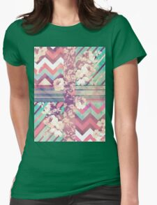 Retro Pink turquoise Floral Stripe Chevron Pattern Womens Fitted T-Shirt