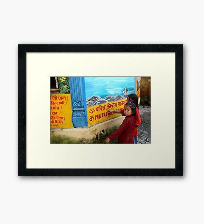 Nepali girls Framed Print
