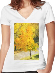 Autumn colorful maple Women's Fitted V-Neck T-Shirt