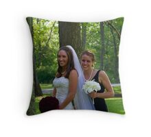 The bride and her maid of honor Throw Pillow