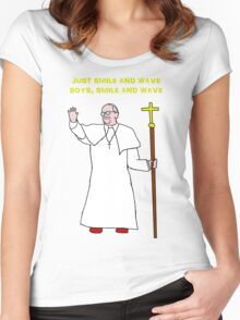 Pope smile and wave Women's Fitted Scoop T-Shirt