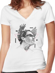 Midday of thought Women's Fitted V-Neck T-Shirt