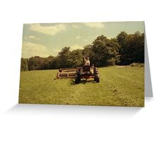 Dolores Wolfe driving tractor Greeting Card