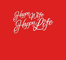 Happy wife happy life typographic Womens Fitted T-Shirt