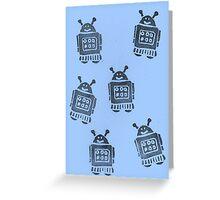 Blue Robots Greeting Card