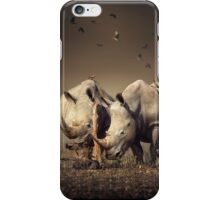 Two Rhinoceros with birds iPhone Case/Skin