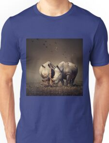 Two Rhinoceros with birds Unisex T-Shirt