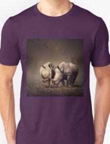 Two Rhinoceros with birds T-Shirt