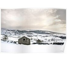 A barn, the Dales and some snow Poster