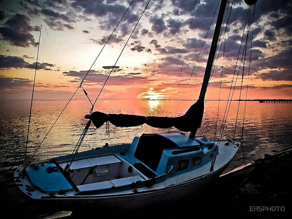 Florida Sailboat Sunset with a Paint Application by EHSPHOTO