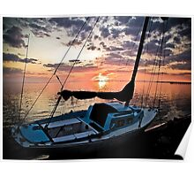 Florida Sailboat Sunset with a Paint Application Poster