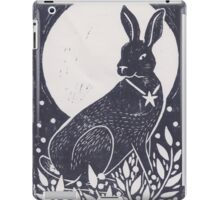 Hare and Moon Lino Print iPad Case/Skin