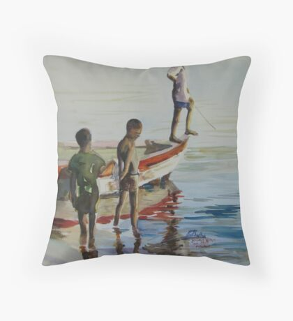 Lake Malawi boys Throw Pillow