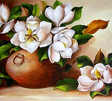 Magnolias in a Clay Pot by Dominica Alcantara