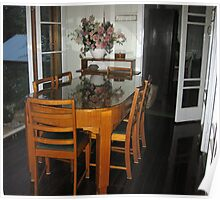 Qld Maple dining table and chairs. Poster