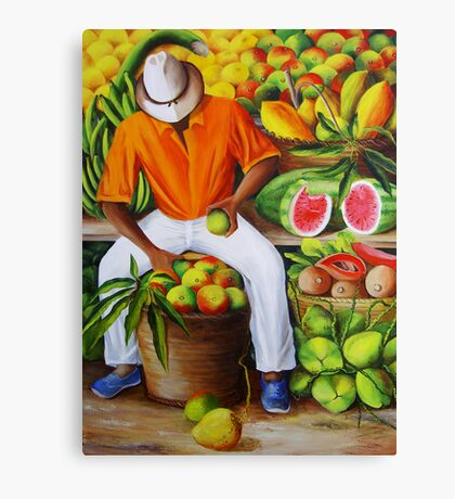 Manuel the Caribbean Fruit Vendor Canvas Print