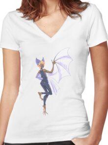 Bat Girl Women's Fitted V-Neck T-Shirt