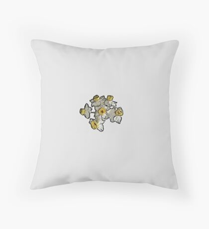 Mini Daffodil Bunch (on grey) Throw Pillow