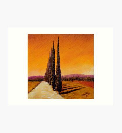Tuscan Cypress Road Art Print