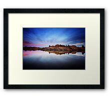 Rock Strech into Sunset Framed Print