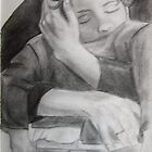 Boy asleep in mothers arms by Jasmin Witham