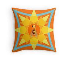 Bee, sun & flower Throw Pillow