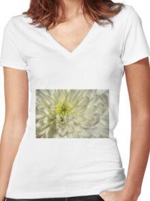 White Chrysanthemum Women's Fitted V-Neck T-Shirt
