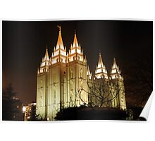 Salt Lake Temple - Winter Night Poster