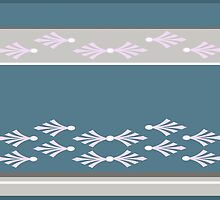 Feathers design in teal, pink and concrete grey by goanna