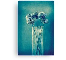 Monochrome flowers and vase Canvas Print