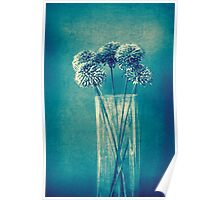 Monochrome flowers and vase Poster