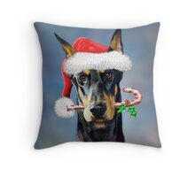 Doberman Christmas Throw Pillow