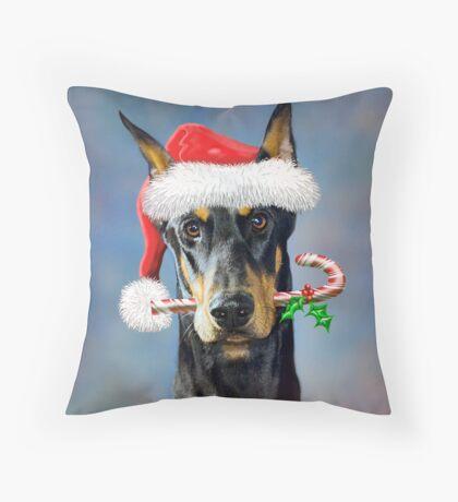 Doberman Christmas Throw Pillow