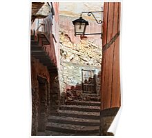 Stepped street, Albarracin, Aragon, Spain Poster