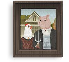 American Gothic Parody, Chicken & Pig Canvas Print
