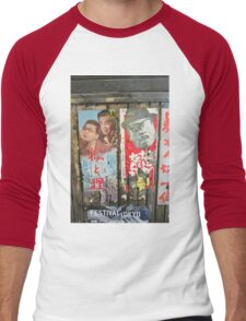 Tokyo Vintage Japanese Movie Posters under Yurakucho Railway Line Bridge Men's Baseball ¾ T-Shirt
