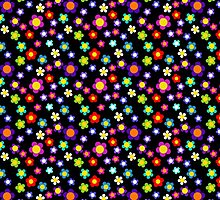 MOD Hippie Flowers, Floral Repeat Pattern by Cherie Balowski