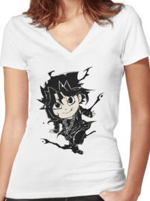 Yugi Muto Black Aibo Wicked avatar Yu-Gi-Oh! R Women's Fitted V-Neck T-Shirt